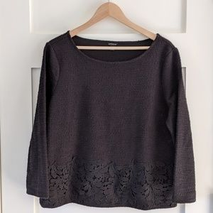 Ann Taylor black tweed texture lace long sleeve L